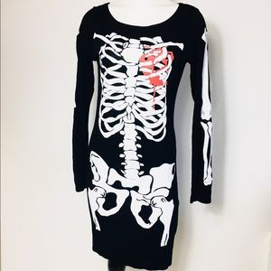 One Touch Skeleton Dress bleeding heart M/L